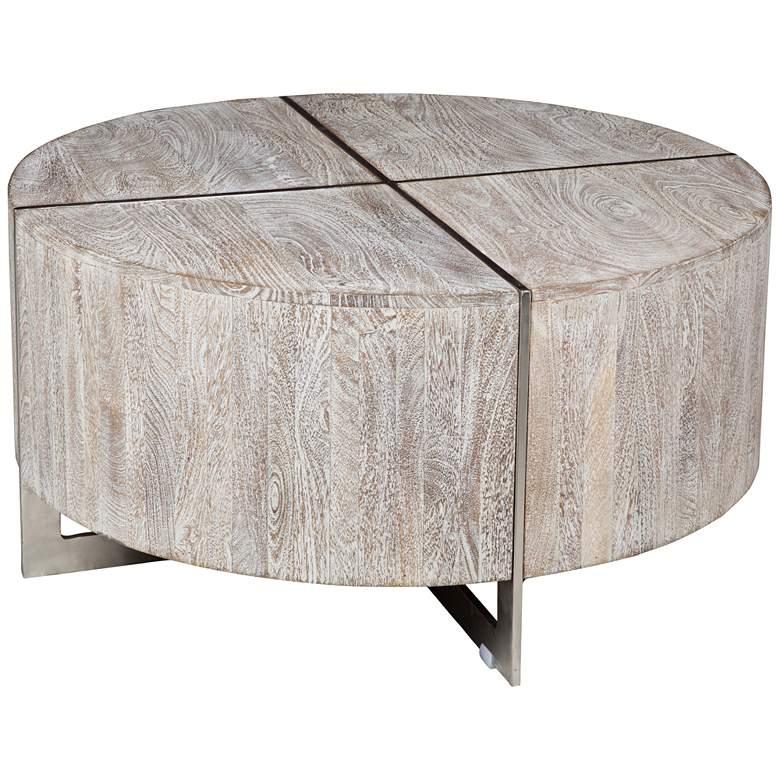 """Desmond 36"""" Wide Whitewash Wood Modern Round Coffee Table"""