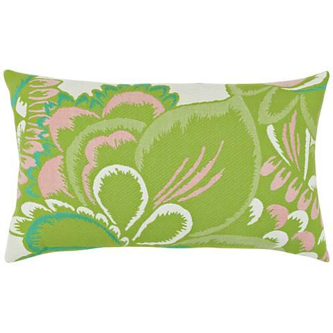 "Floral Hibiscus 20""x12"" Lumbar Indoor-Outdoor Pillow"