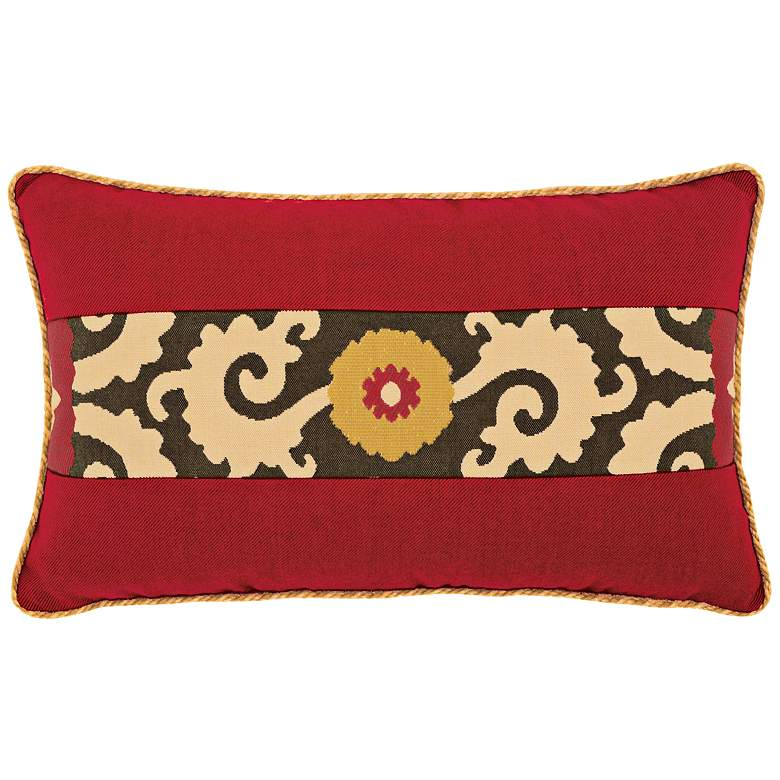 "Elaine Smith Suzani Sun 20""x12"" Lumbar Indoor-Outdoor Pillow"