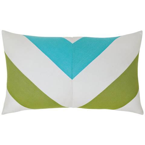"""Poolside Chevron 20""""x12"""" Lumbar Indoor-Outdoor Pillow"""