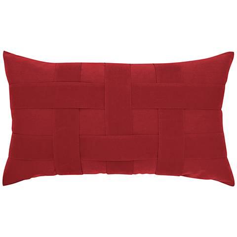 """Basketweave Rouge 20""""x12"""" Lumbar Indoor-Outdoor Pillow"""