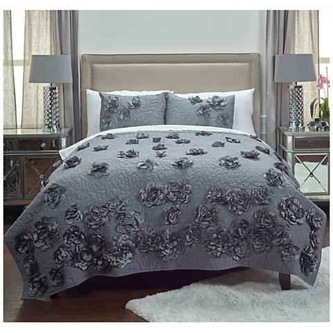 Enchanted Hand-Embroidered Gray Quilt
