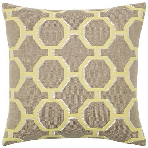 "Octagon Citrine 20"" Square Indoor-Outdoor Pillow"