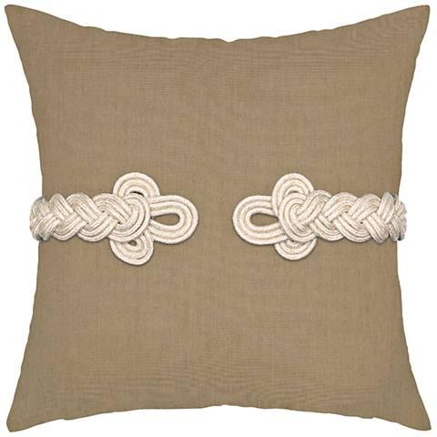 """Beige Frog's Clasp 19"""" Square Indoor-Outdoor Pillow"""