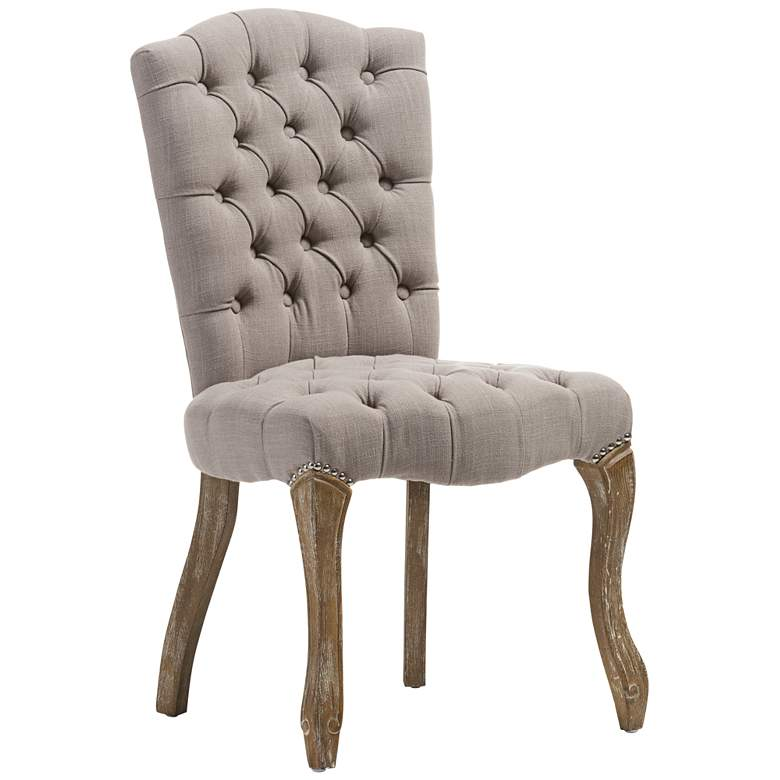Baxton Studio Clemence Beige Linen Tufted Dining Side Chair