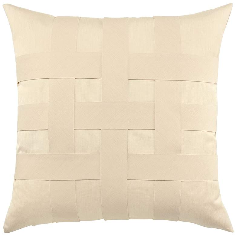 "Basketweave Ivory 20"" Square Indoor-Outdoor Pillow"