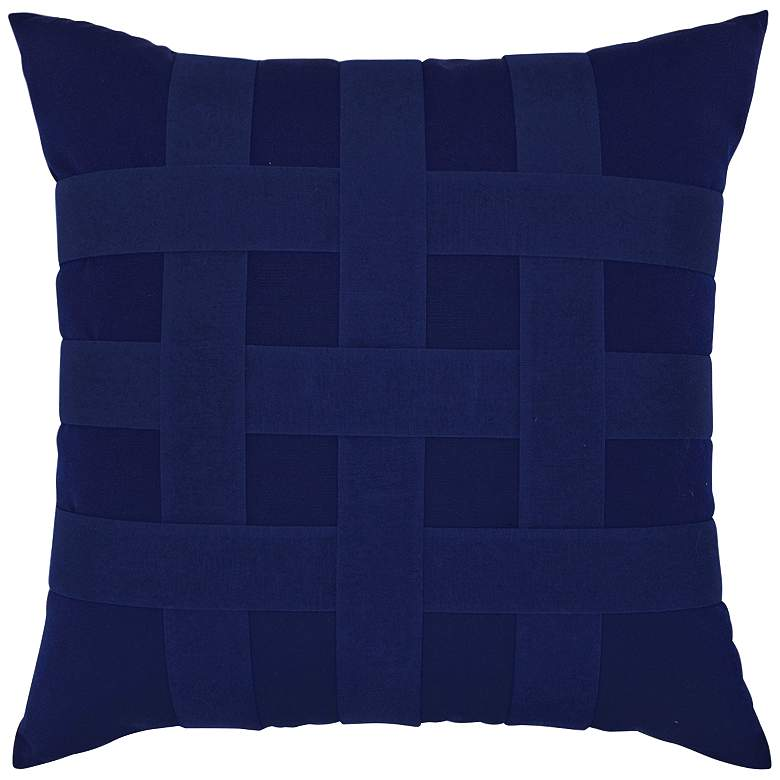 "Basketweave Navy 20"" Square Indoor-Outdoor Pillow"
