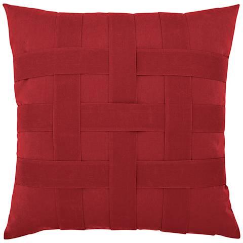 "Basketweave Rouge 20"" Square Indoor-Outdoor Pillow"