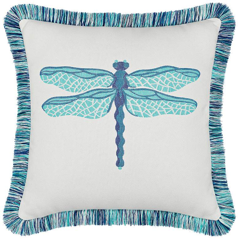 "Elaine Smith Dragonfly Pool 20"" Square Indoor-Outdoor Pillow"