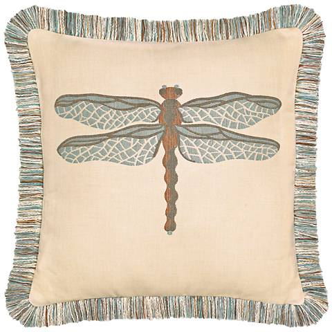 """Elaine Smith Dragonfly Spa 20"""" Square Indoor-Outdoor Pillow"""