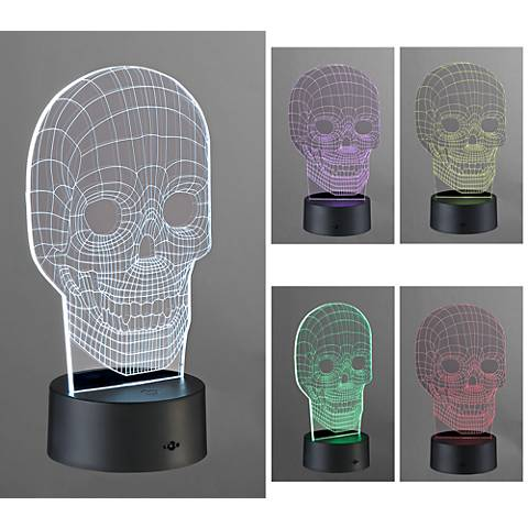 "3D Illusion 8 1/2""H LED Skull Novelty Accent Lamp"
