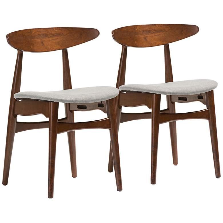 Baxton Studio Flora Gray Fabric Oak Dining Chair Set of 2