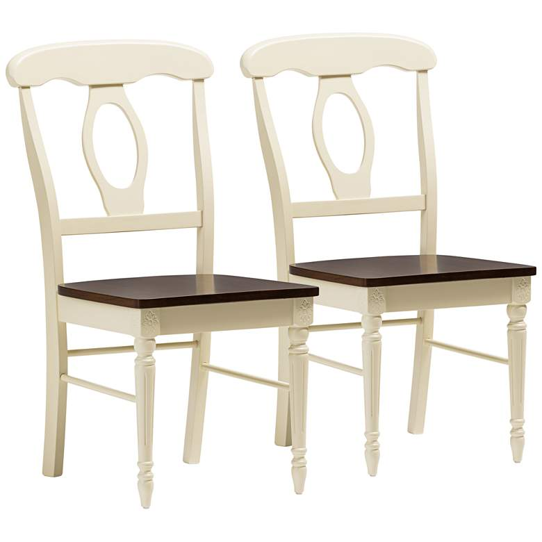 Napoleon Cherry and Buttermilk Wood Dining Chairs - Set of 2