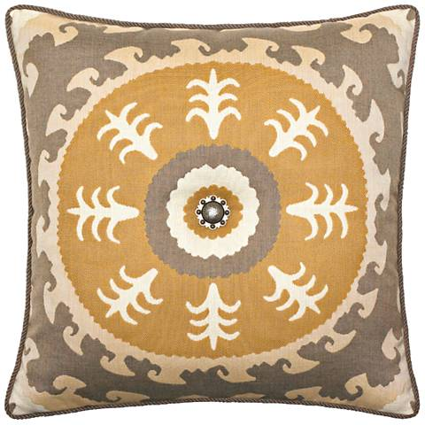 "Jeweled Sedona Sun 22"" Square Indoor-Outdoor Pillow"