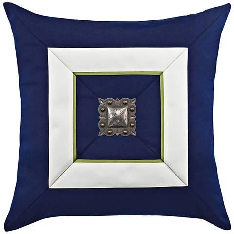 "Navy Cruise Jewel 19"" Square Indoor-Outdoor Pillow"