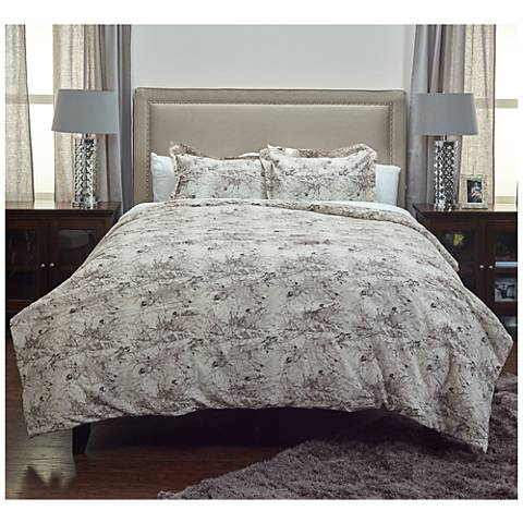 Vintage Butterfly Gray 3-Piece Comforter Set