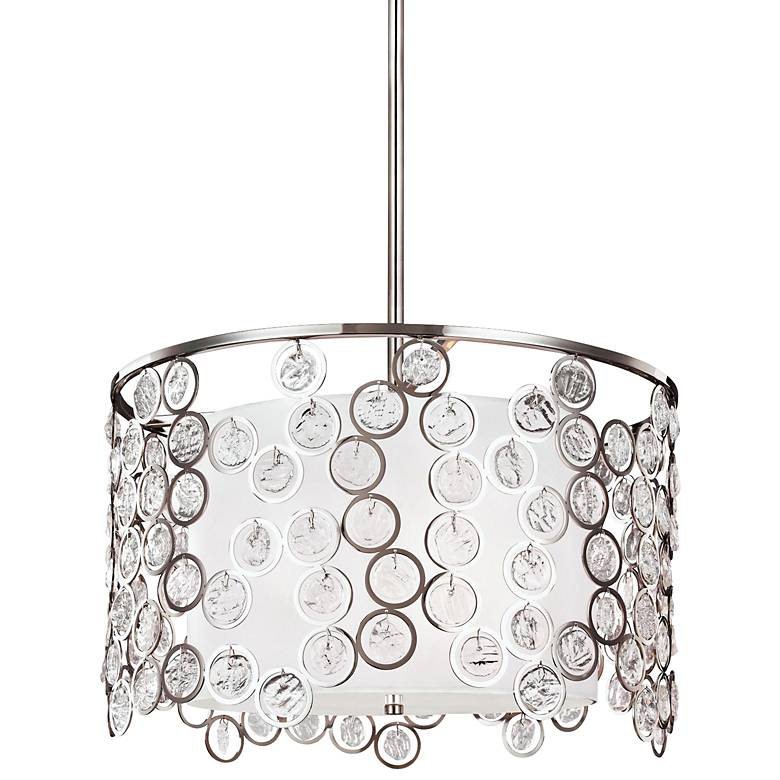 """Feiss Lexi 19"""" Wide Polished Nickel Pendant Light"""