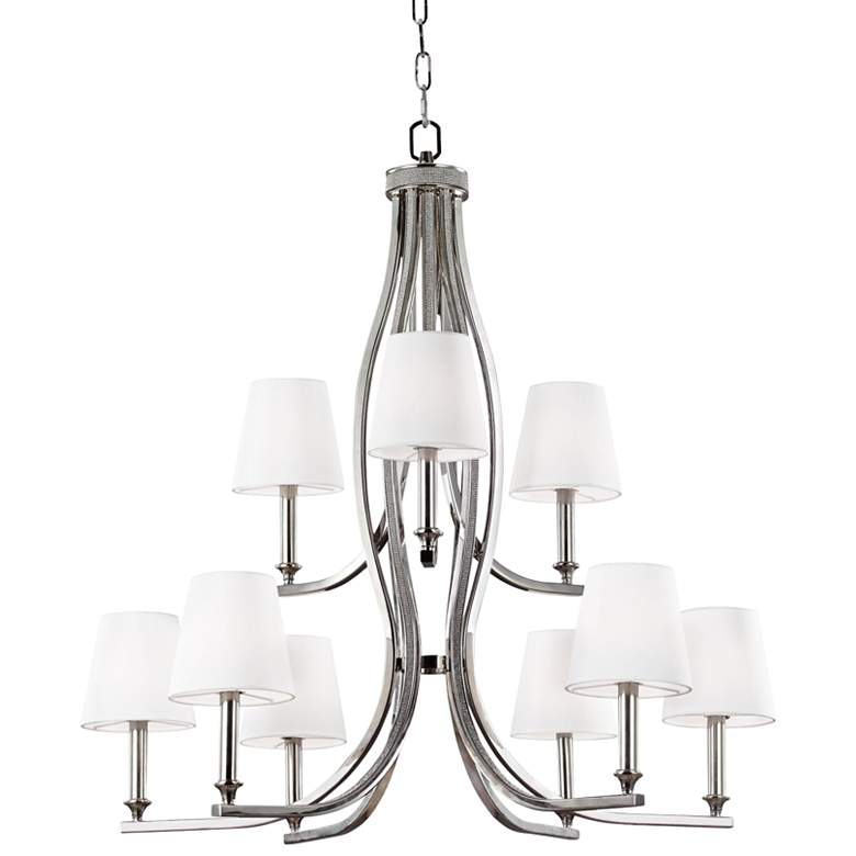 """Feiss Pave 33 1/2"""" Wide Polished Nickel Chandelier"""