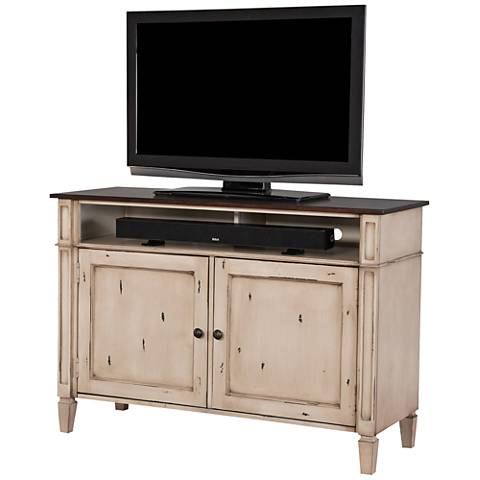 Baldwin Antique Powder White 2-Door Small Wood TV Console