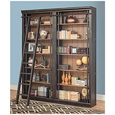 toulouse aged ebony 6 shelf home library 2 bookcase wall - Distressed Bookshelves