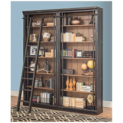 Toulouse Aged Ebony 6 Shelf Home Library 2 Bookcase Wall