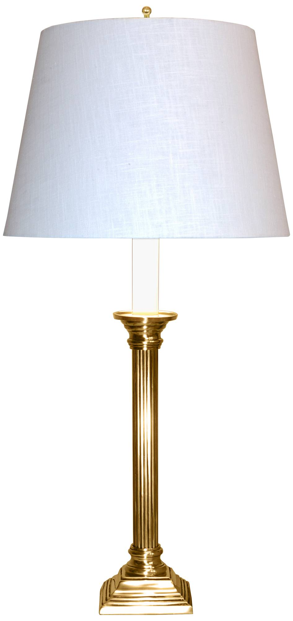Apollo polished brass tall table lamp with off white shade 9x933 lamps plus