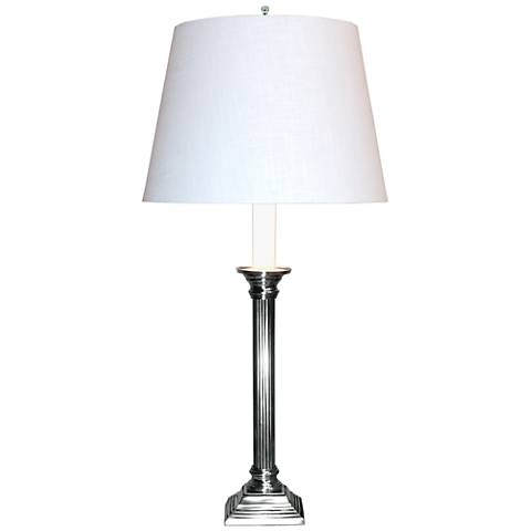 Apollo Pewter Tall Table Lamp with White Shade