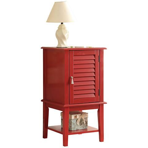 Hilda Red Shutter Slat-Door Small Floor Storage Cabinet