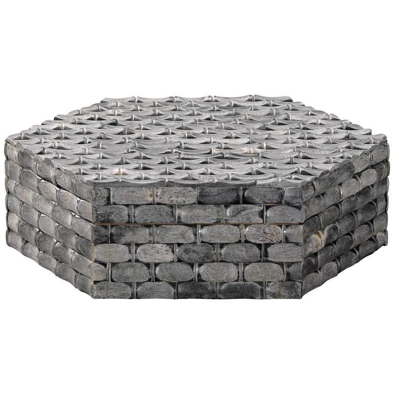 "Jamie Young 10"" Wide Alexander Natural Gray Bone Hexagon Box"
