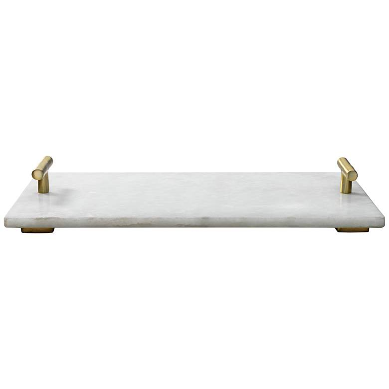 Jamie Young Carter White Marble Antique Brass T-Handle