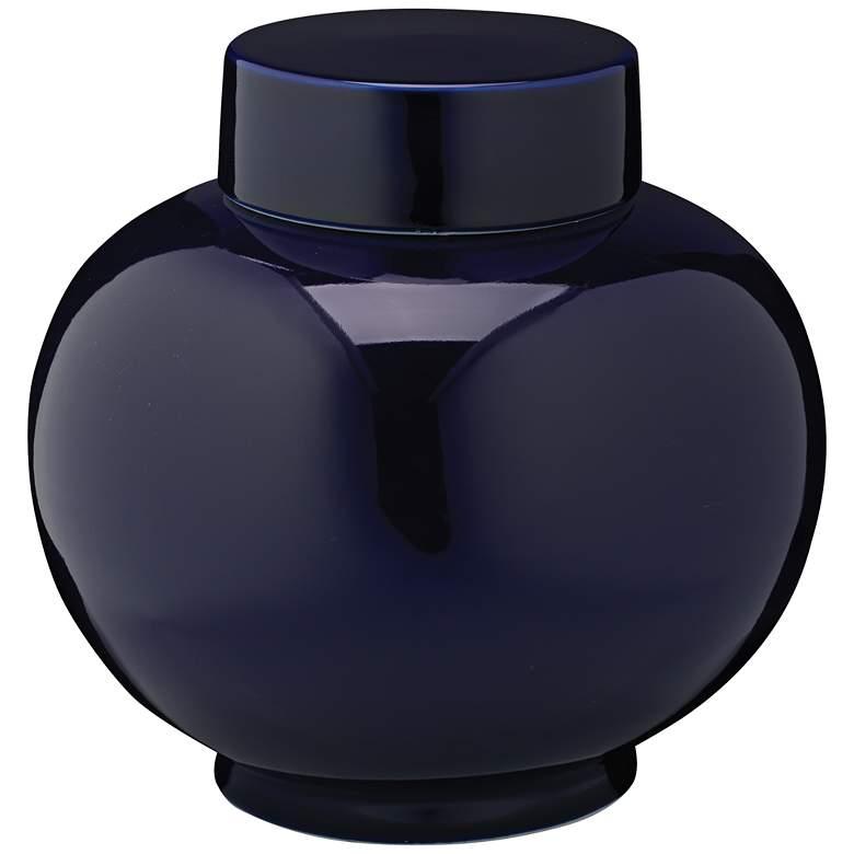 "Jamie Young  9 1/4"" Wide Dynasty Navy Blue Ceramic Vase"