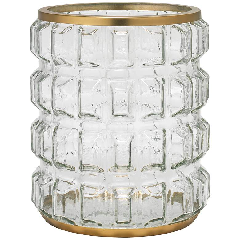"""Madison 10 1/2"""" High Glass and Antique Brass Candle Holder"""