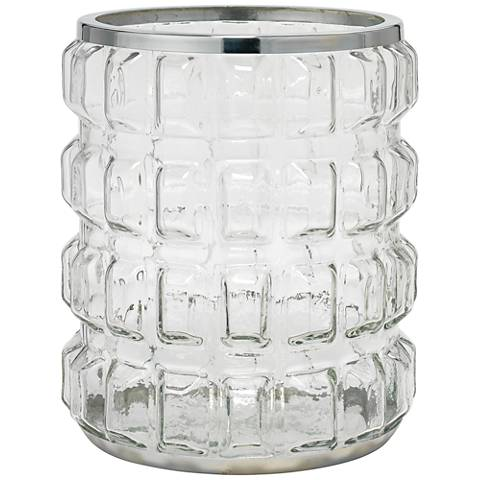 Madison Clear Glass and Shiny Nickel Hurricane Candle Holder
