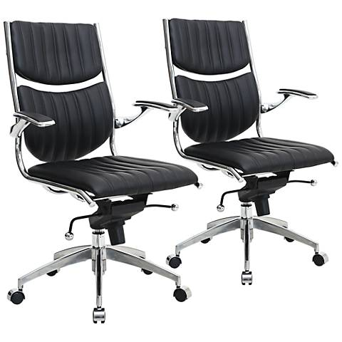 Verdi Ergonomic Black Adjustable Office Chair Set of 2