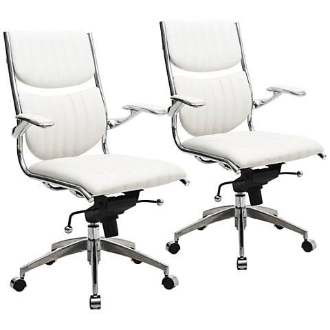 Verdi Ergonomic White Adjustable Office Chair Set of 2
