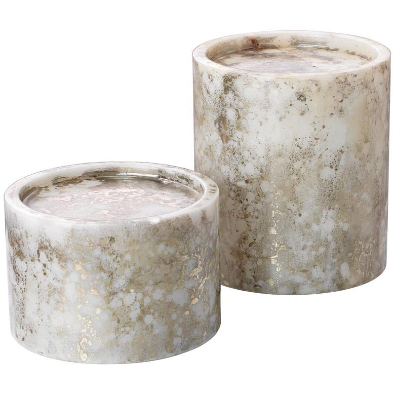 Orion Silver and Gold Marble Pillar Candle Holder Set of 2