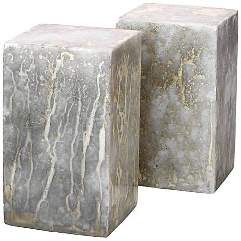 Slab Silver and Gold Marble Rectangular Bookend Set of 2