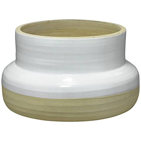 """Jamie Young Sundial White and Natural 14"""" Wide Ceramic Vase"""