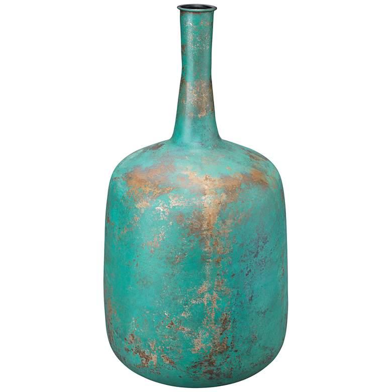 """Jamie Young Zeus Green Patina 24"""" High Large Metal Vase"""
