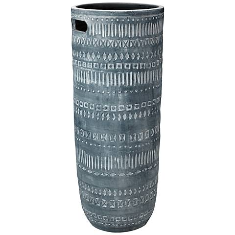 "Jamie Young Zion Gray and White 28 1/2"" High Ceramic Vase"