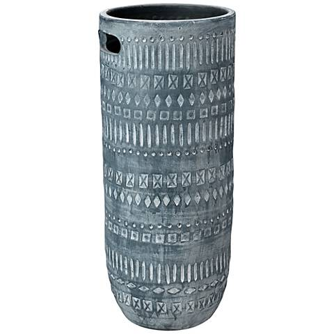 """Jamie Young Zion Gray and White 24"""" High Ceramic Vase"""