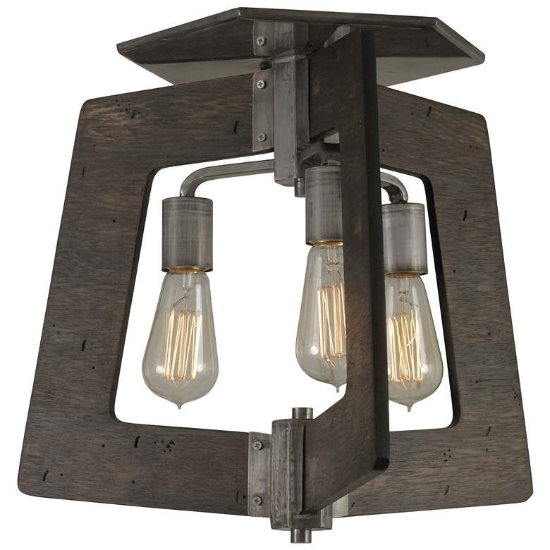 """Lofty 18 1/2"""" Wide Faux Zebrawood and Steel Ceiling Light"""