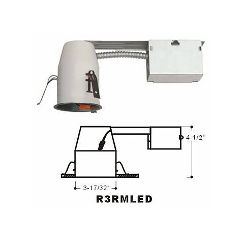 "White 3"" Air Tight Dedicated LED Remodel Housing"