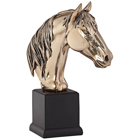 "Antique Champagne 14 1/2"" High Horse Head Statue"