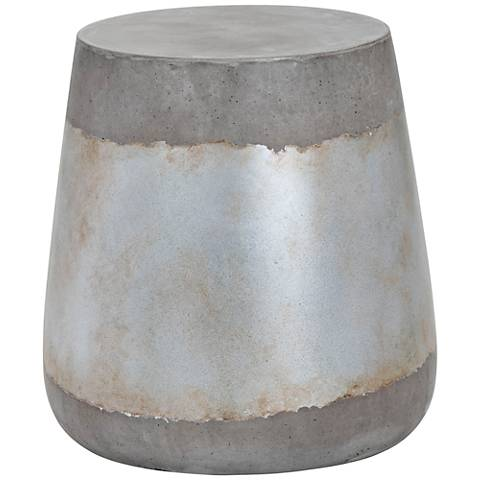 Aries Silver Concrete Indoor-Outdoor Side Table
