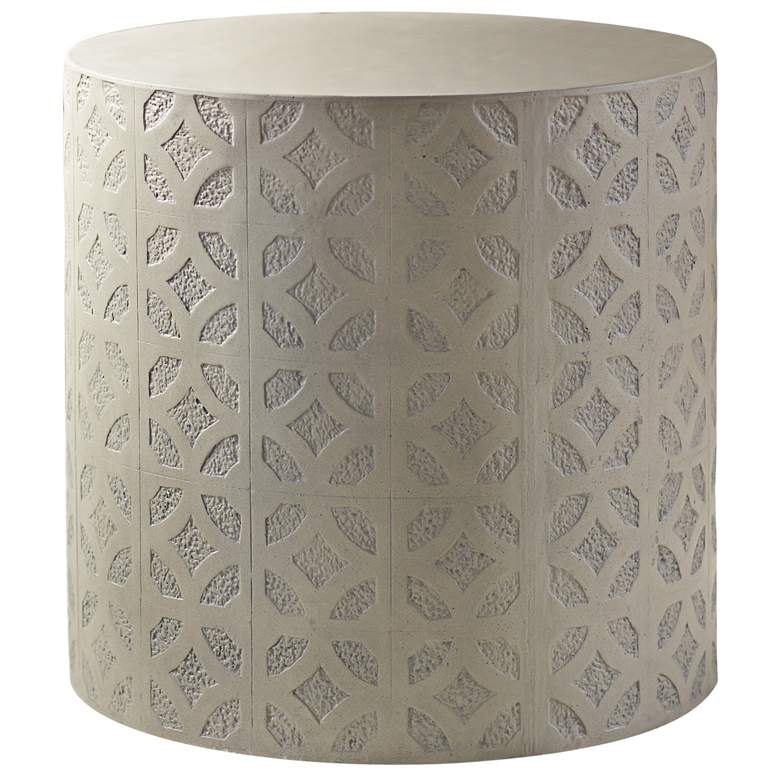 Imani Cement Drum Natural Concrete Indoor-Outdoor Side Table