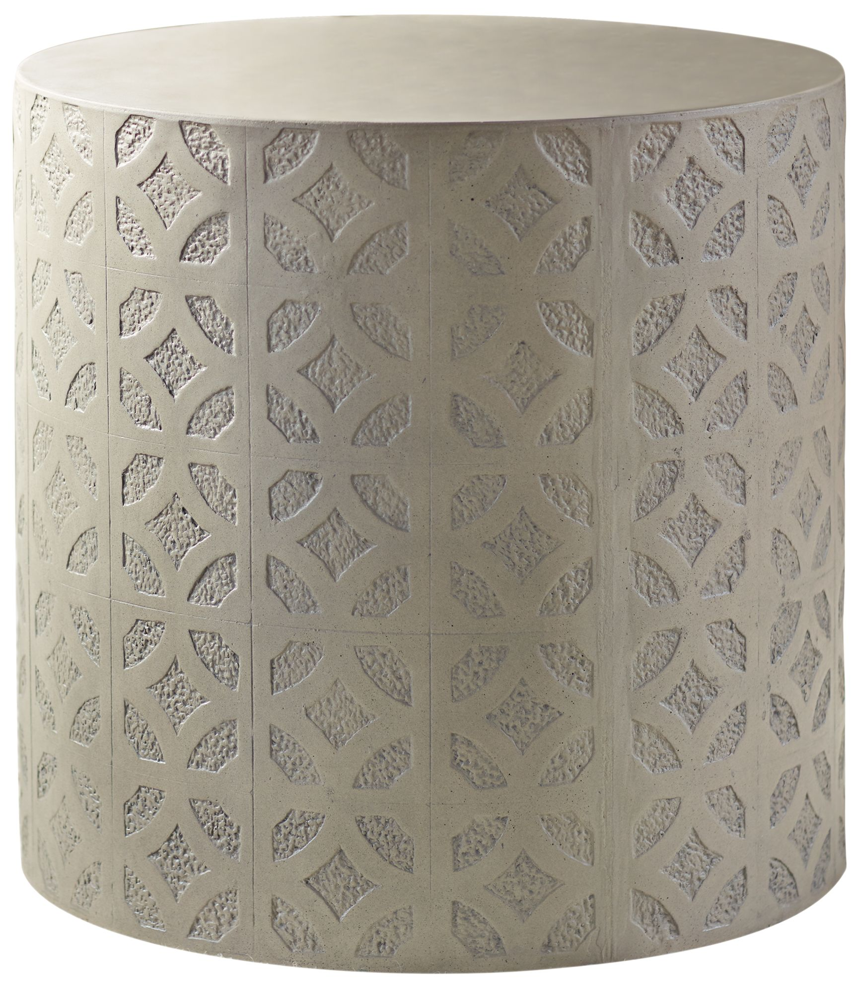 Imani Cement Drum Natural Concrete Indoor Outdoor Side Table