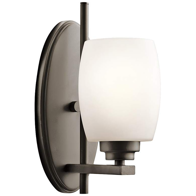 """Eileen Olde Bronze 10 3/4"""" High Frosted Glass Wall Sconce"""