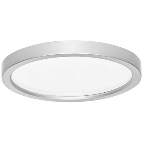 "Slim Disk 5 1/2""W Nickel 9W LED Round Surface-Mount Light"