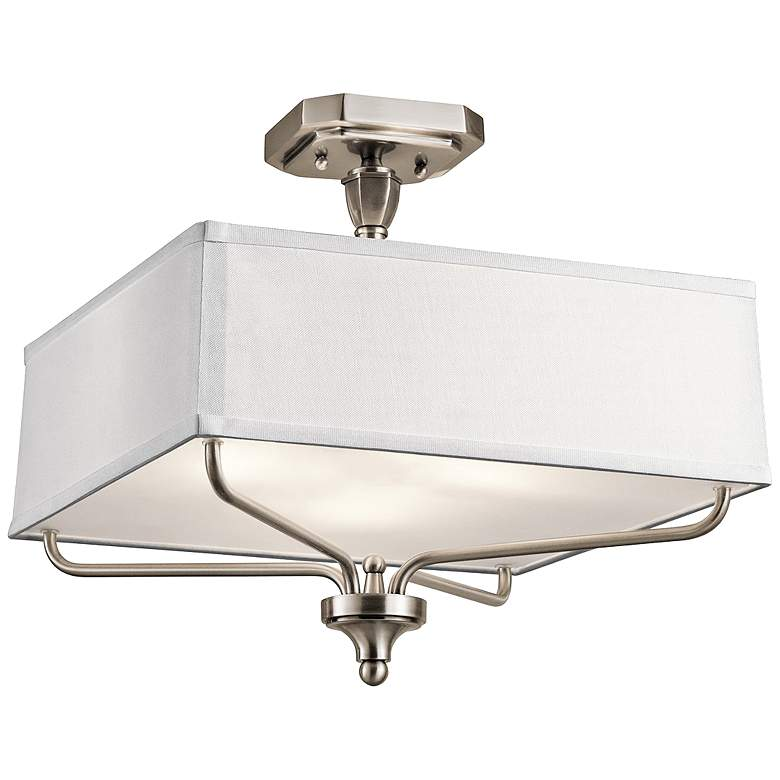"""Kichler Arlo 15"""" Wide Classic Pewter Square Ceiling Light"""